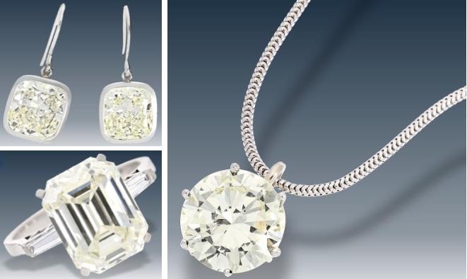 Oben: Paar Weißgold-Ohrringe mit Diamanten im Cushion-Schliff (je ca. 5,75 ct) Unten: Vintage Ring aus Platin mit Diamant im Emerald-Cut (ca. 6,2 ct) Rechts: Weißgoldkette mit Brillantanhänger (ca. 4,25 ct)