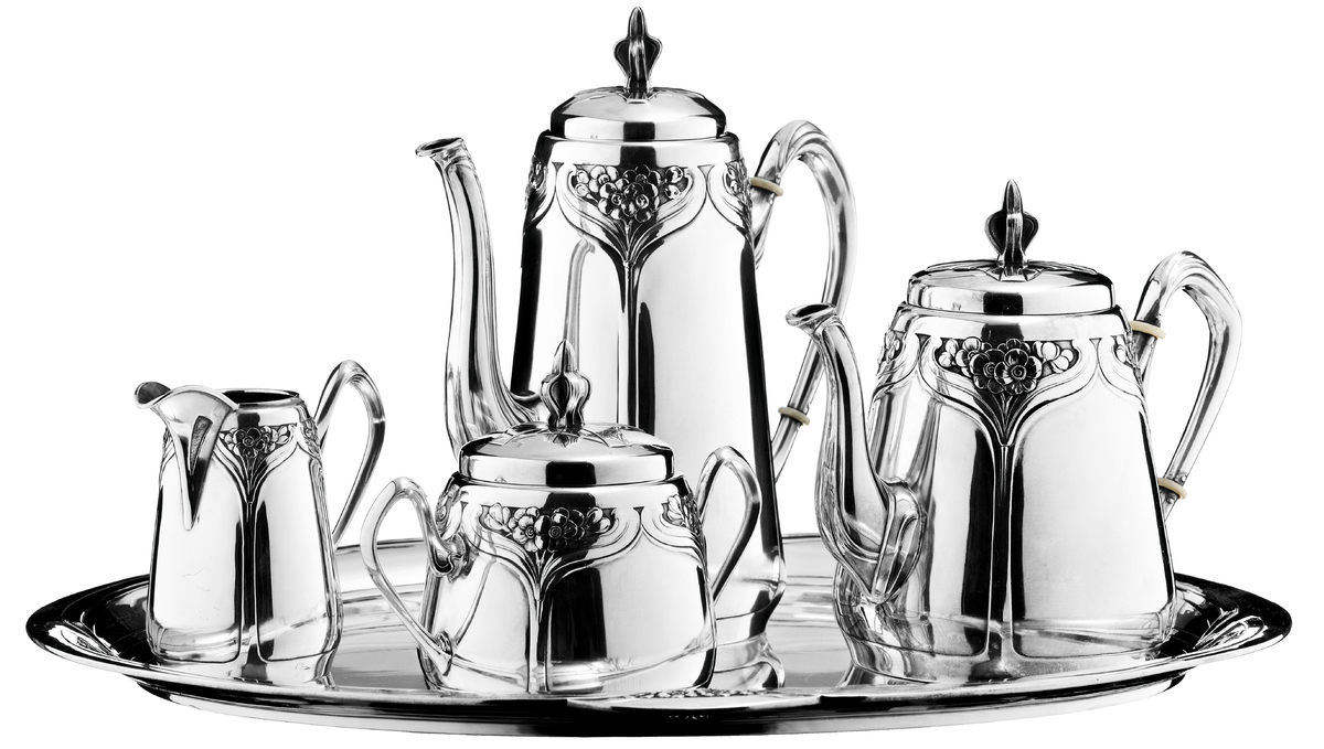 BRUCKMANN Jugendstil Kaffee- und Teeservice aus Silber mit Floralornamentik, Heilbronn um 1900