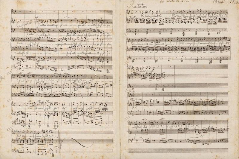 FELIX MENDELSSOHN-BARTHOLDY. Partitura: Pasión según San Mateo de Johann Sebastian Bach, 6 1/2 páginas (Primavera 1830). Precio estimado: de 113.000 a 148.150 €