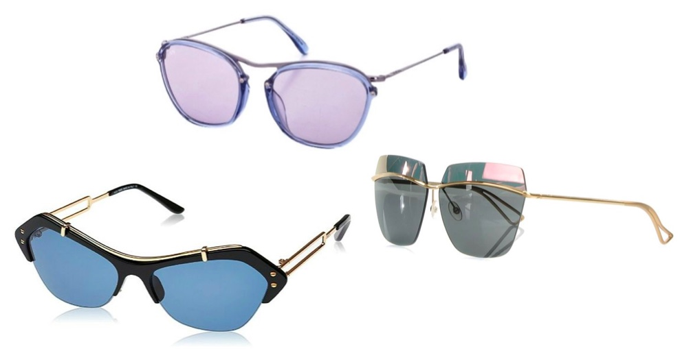 Hinten: TOD'S Unisex-Sonnenbrille aus Plastik, Italien Mitte: CHRISTIAN DIOR Unisex-Sonnenbrille aus vergoldetem Metall, Italien Vorne: TOD'S Unisex-Sonnenbrille aus Plastik, Italien