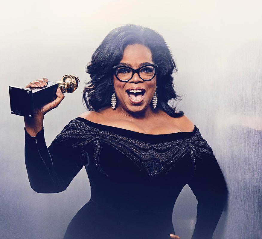 Oprah Winfrey au Golden Globe Awards 2018, vêtue de noir pour protester contre l'agression sexuelle et une paire de boucles d'oreilles en diamants Photo: Ramona Rosales