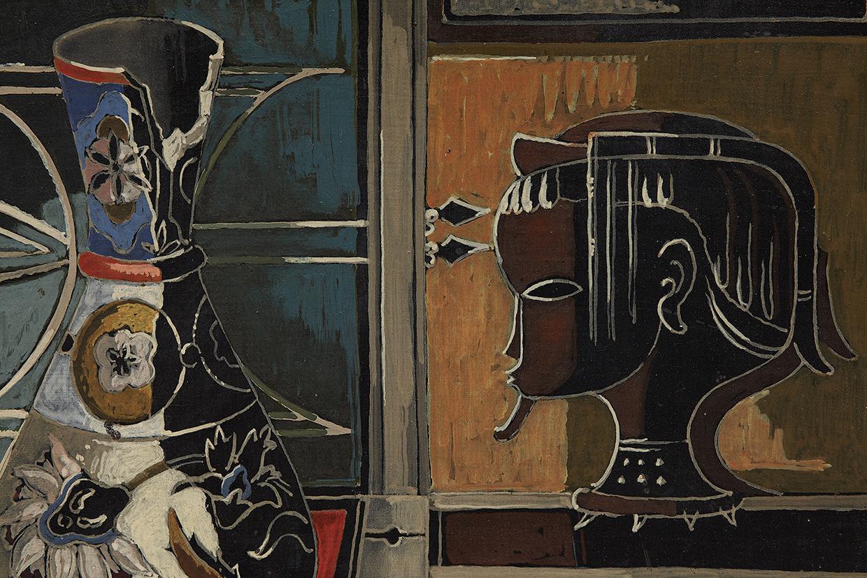 ALEXIS PRELLER (1911-1975) - Still-life with Vase and Carved Head, Öl/Holz, signiert und datiert, 1956