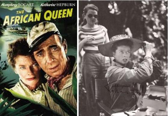 "Links: Filmplakat von ""The African Queen"" Abb. via moviepilot.de Rechts: Signiertes Foto von Katharine Hepburn am Set von ""The African Queen"" Dreweatts & Bloomsbury"