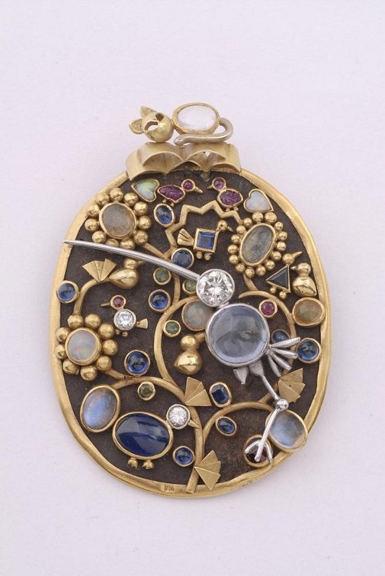 """""""Souvenir de Maroc""""-brosch i 18K guld, järn och platina. Utrop: 93 900 SEK Lempertz"""