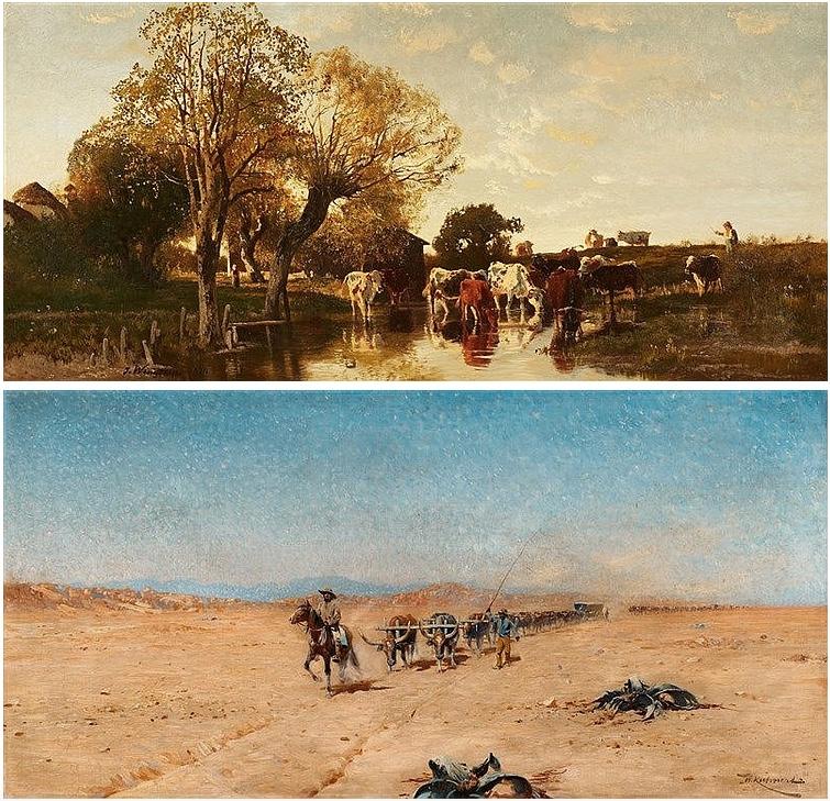 Oben: JOSEPH WENGLEIN (1845 München - 1919 Bad Tölz) - Landschaft mit Viehherde, Öl/Lwd., signiert und datiert, 1874 Unten: WILHELM KUHNERT (1865 Oppeln - 1926 Flims/Graubünden) - Watussi-Rinder, Öl/Lwd., signiert