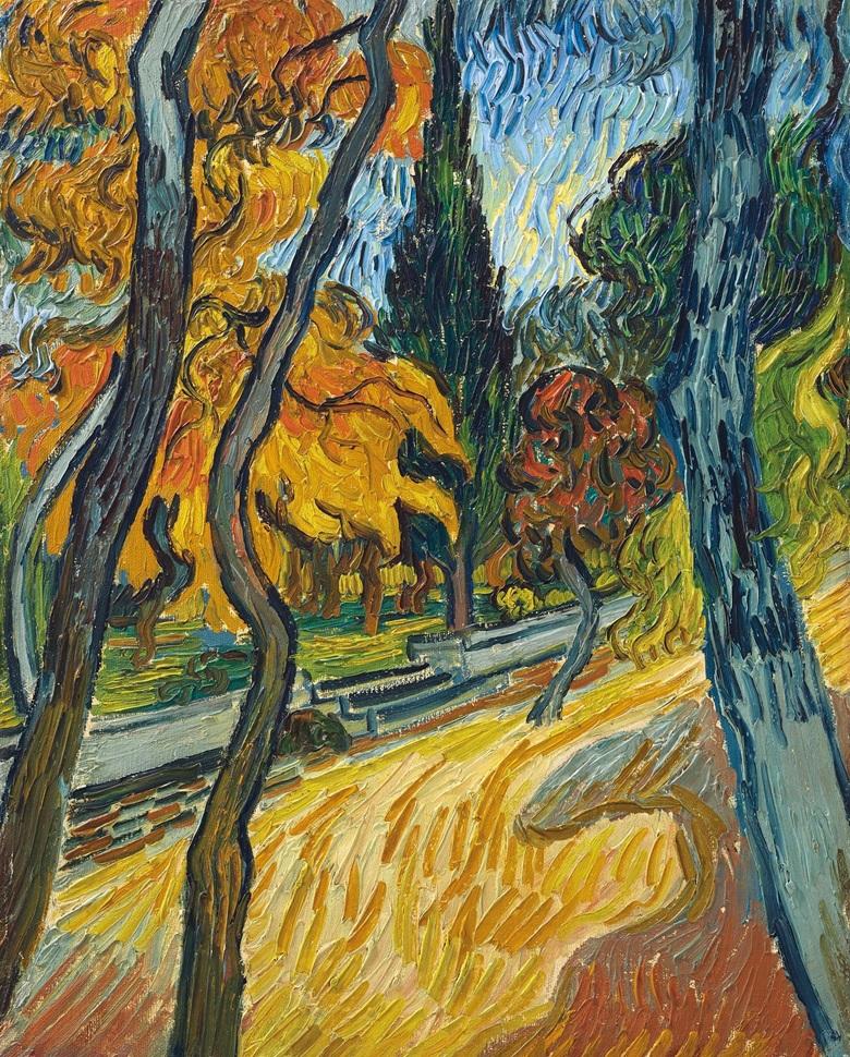 Vincent van Gogh (1853-1890), Arbres dans le jardin de l'asile, 1889. Oil on canvas. Image: Christie's
