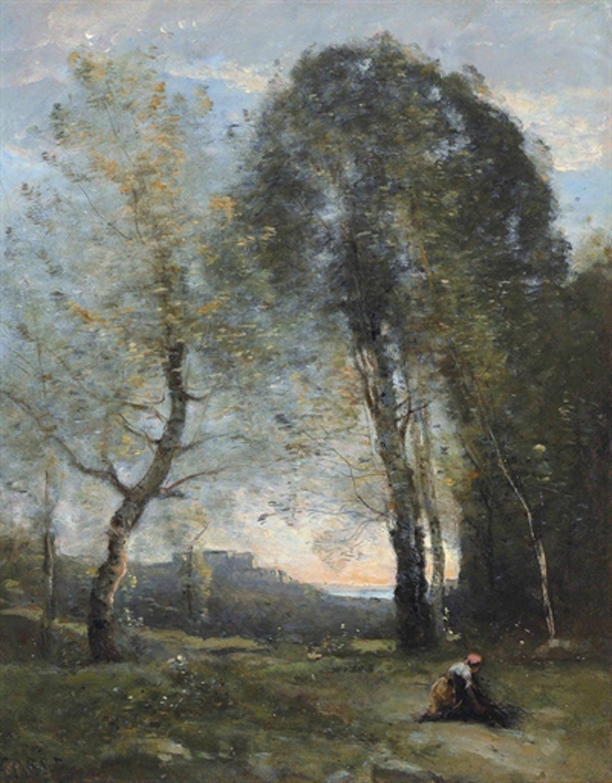 "JEAN-BAPTISTE COROT. ""Souvenir d'Italie. Paysanne ramassant du bois"". Óleo sobre lienzo."