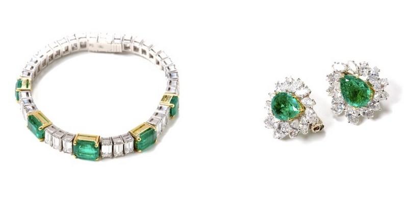 Izquierda: Pulsera de platino con esmeraldas y diamantes Derecha: CARTIER. Pendientes de esmeraldas y diamantes