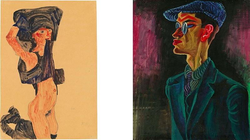 Links: EGON SCHIELE (1890-1918) - Kniendes Mädchen, sich den Rock über den Kopf ziehend, 1910 Rechts: CONRAD FELIXMÜLLER (1897-1977) - Mein Bruder- Bergingenieur, 1922 | Beide Abb.: Christie's