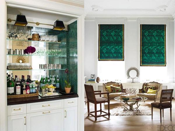 Interiores decorados en color malaquita