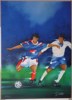Victor SPAHN, Match de football, Lithographie PrivateLot
