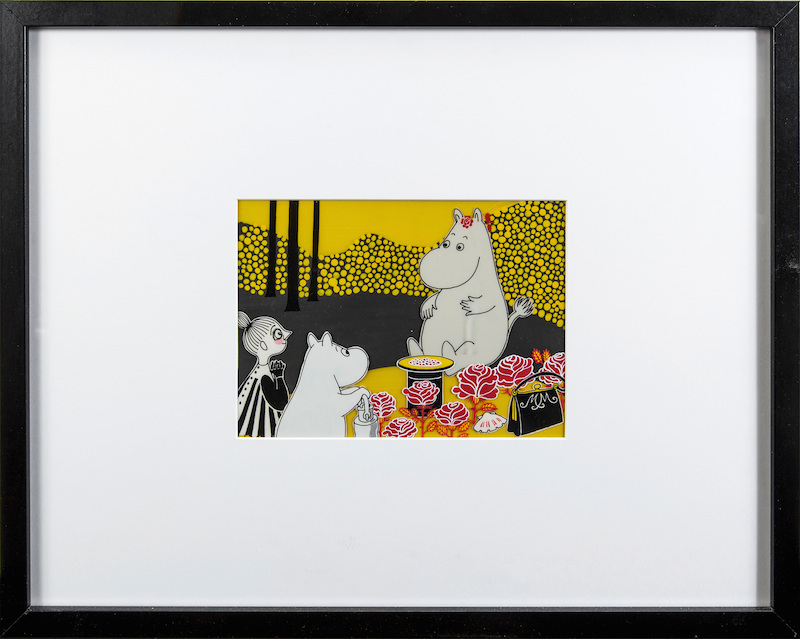 "JAROMIR WESLEY, handmålad filmcell, ""Mumintrollet: Hur gick det sen?"", 1993. Utrop 5.000 SEK. Bukowskis Market"