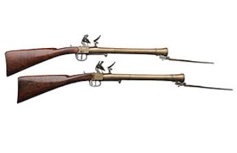 Rare Pair of English Brass Blunderbuss Flintlock Short Rifles by with Spring Bayonets, ca 1800