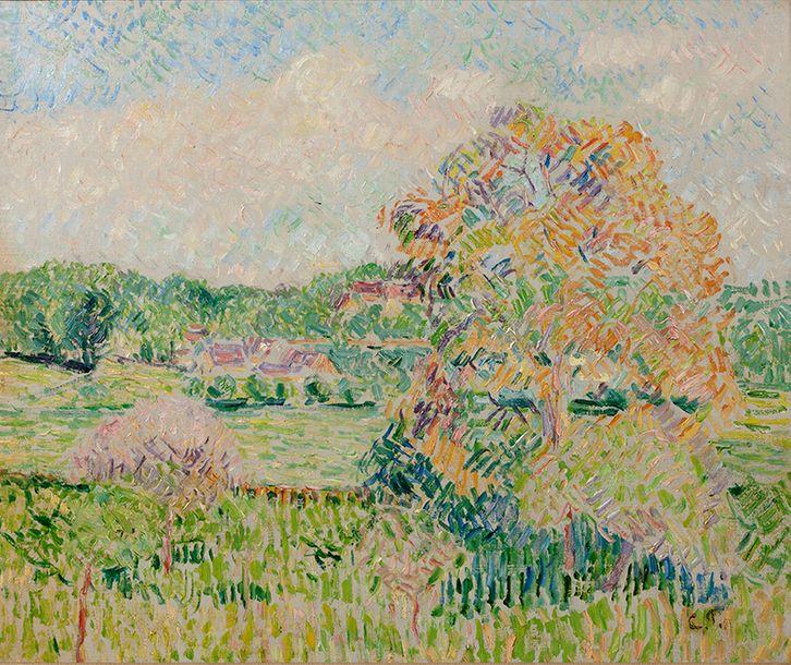 Camille Pissarro, Le grand noyer à Éragny, Automne, image via Aguttes
