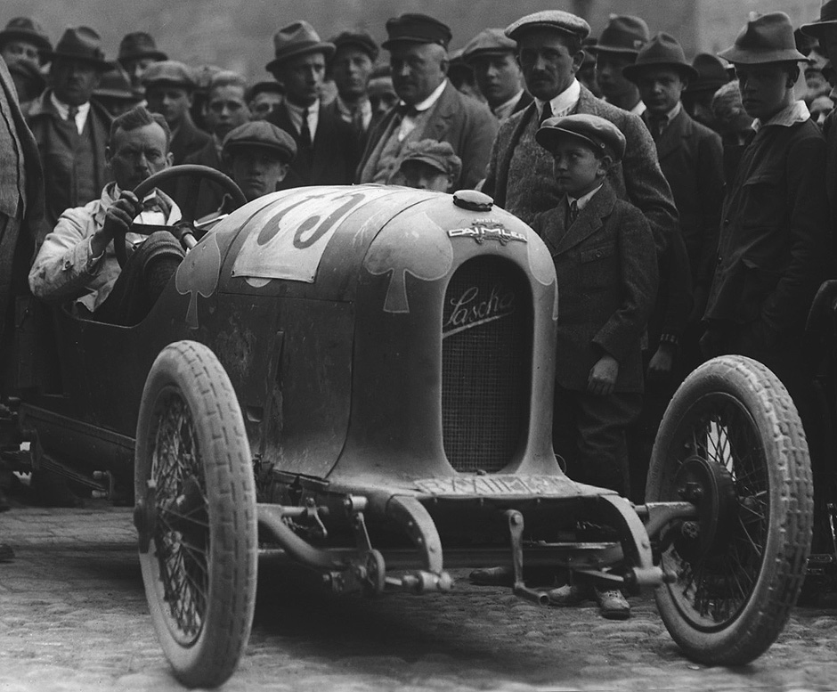 Circa 1922 Ries race, Graz, Steiermark. Ferdinand Porsche can be seen front right. Image: Porsche newsroom