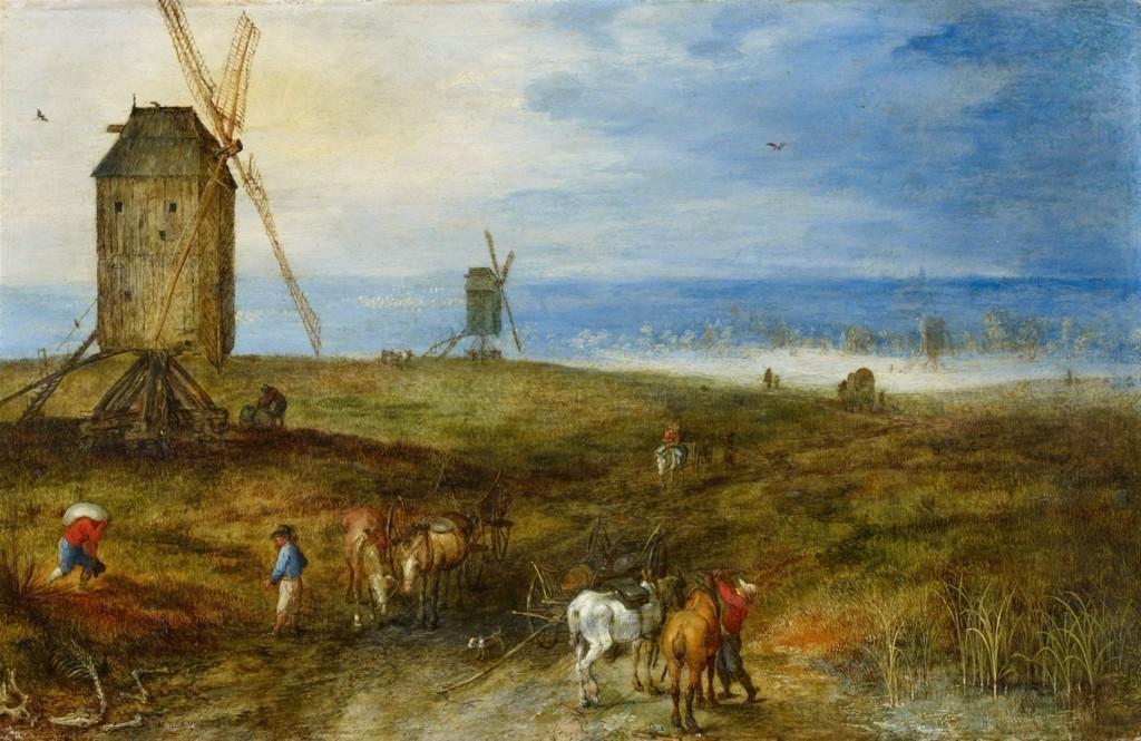 JAN BRUEGHEL l'Ancien (1568 Bruxelles - 1625 Anvers) - Grand paysage aux moulins à vent, huile sur cuivre, 16x26 cm, signé Estimation: 260 000-300 000 EUR
