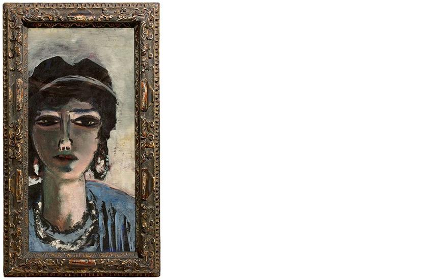 MAX BECKMANN (1884 Leipzig - 1950 New York) - Weiblicher Kopf in Grau und Blau (Die Ägypterin), Öl/Lwd., bezeichnet, signiert und datiert, 1942