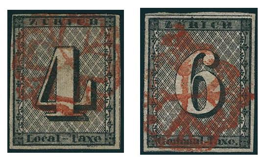 Links: Schweiz Kantone Zürich - Marke zu 4 Rp., gestempelt mit leuchtend roter Zürcher Rosette Rechts: Schweiz Kantone Zürich - Marke zu 6 Rp., gestempelt mit leuchtend roter Zürcher Rosette
