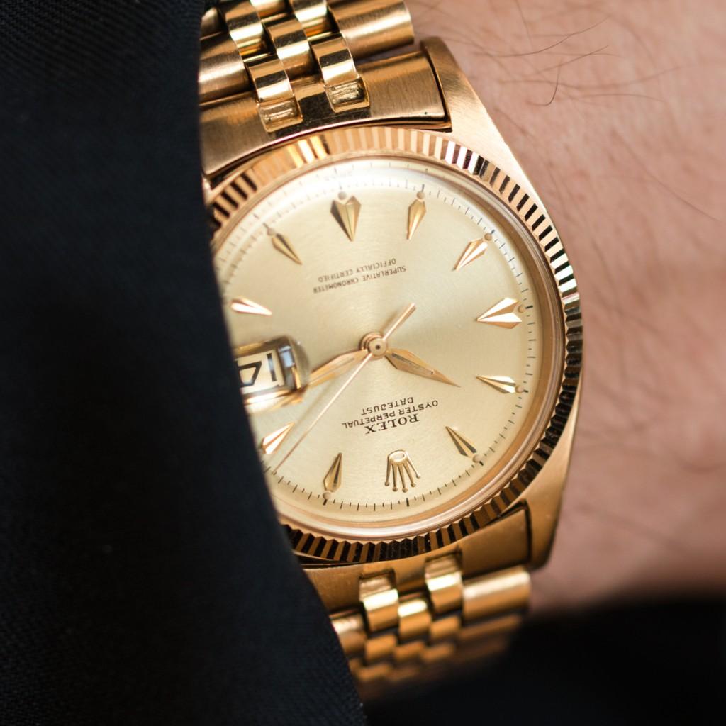 Todays Wristshot I: ROLEX, Datejust, Chronometer, Ref. 6605, Cal 1065, Boett nr. 6605, herrur, 36 mm, 18K rosa guld, plexiglas, datum, Jubileelänk, cert, oktober 1958. LOT2(photo:kaplans.se)