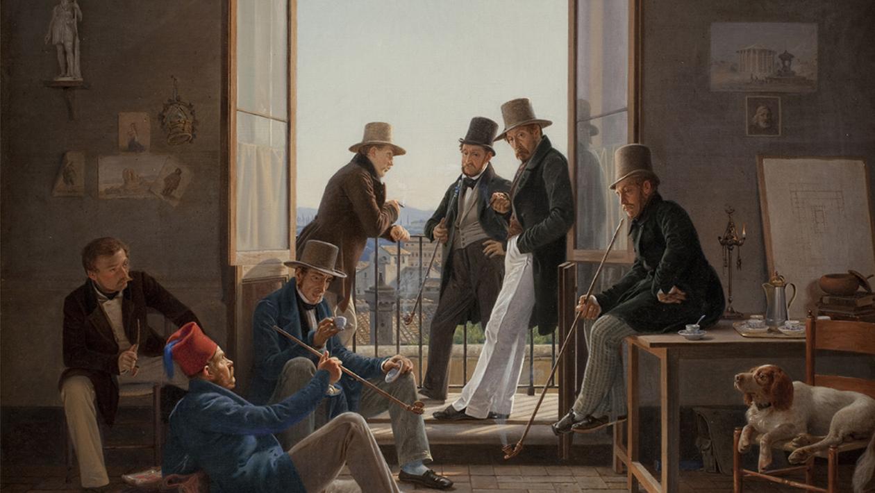 """Constantin Hansen, """"Et selskab af danske kunstnere i Rom"""", 1837. Olja på duk. SMK, Statens Museum for Kunst."""