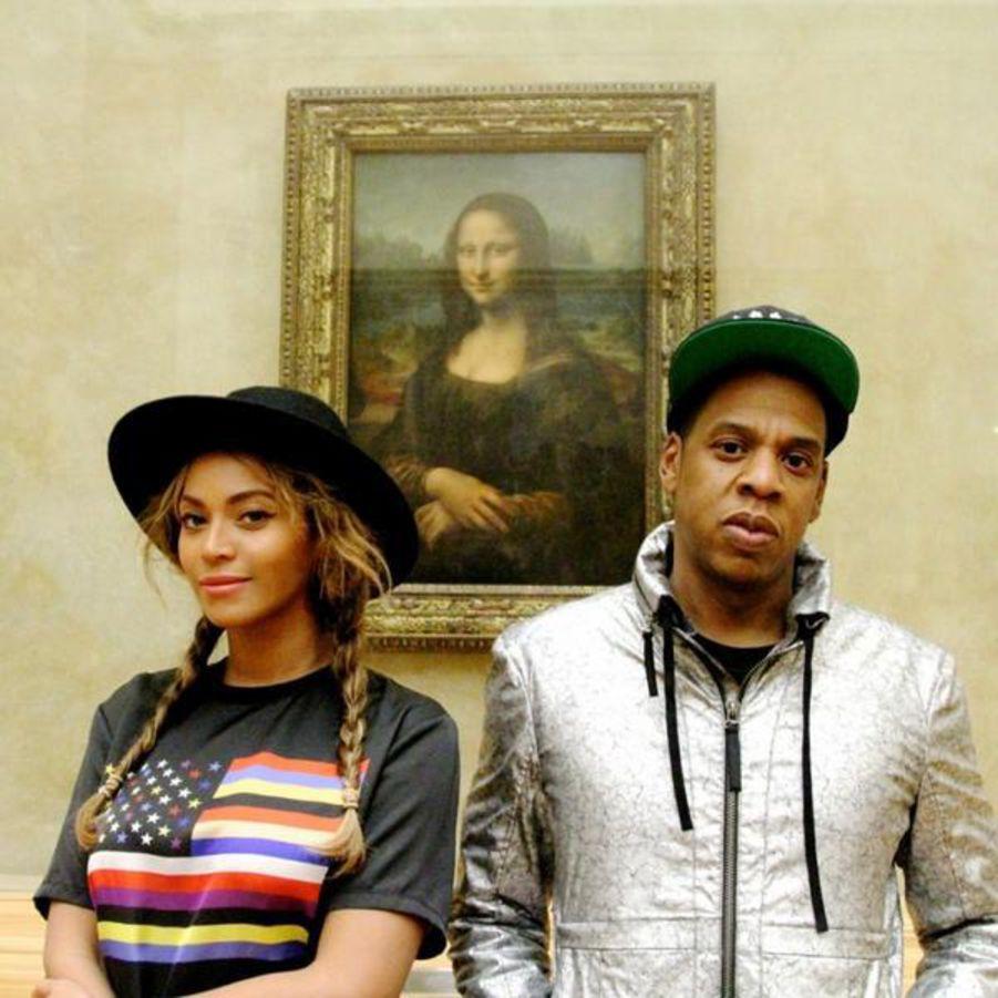 Beyoncé et Jay-Z au Louvre lors d'une précédente visite, image via Pinterest.