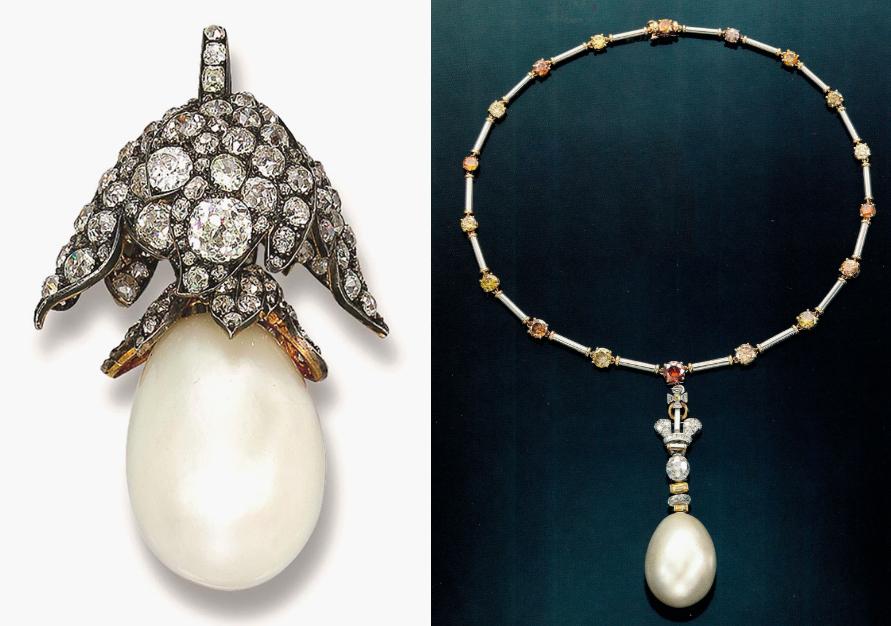 À gauche: La Régente, vendue chez Christie's Genève le 16 novembre 2005 À droite: La Régente sur un collier de diamants colorés vendue chez Christie's New York le 16 juin 1987 Images via Christie's