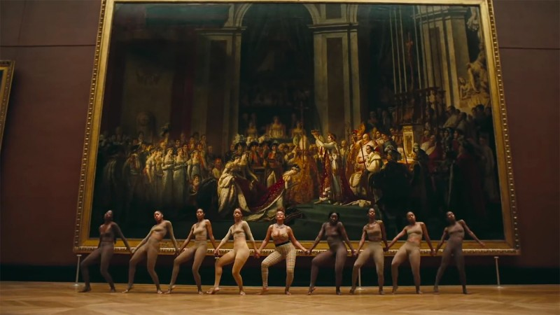 """Beyoncé and her dancers in front of """"The Coronation of Napoleon"""". Photo via: mashable.com."""