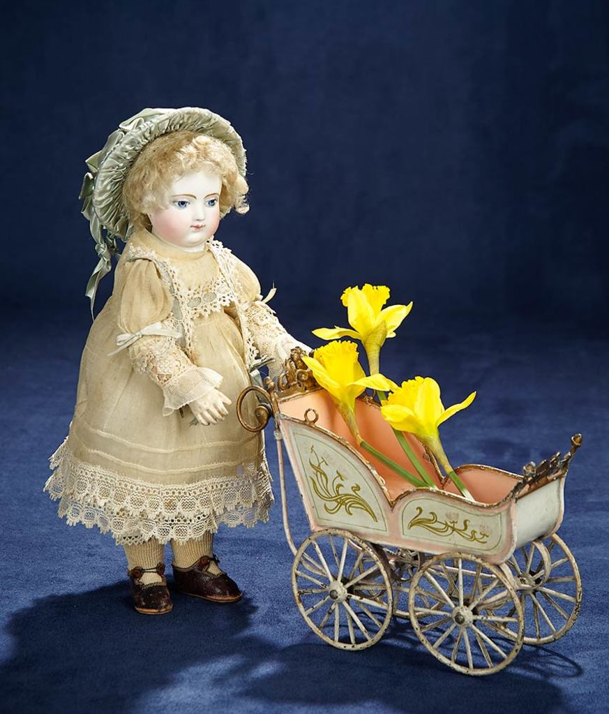 Fine Gentle-Faced French Bisque Bebe by Adelaide Huret on All-Wooden Body