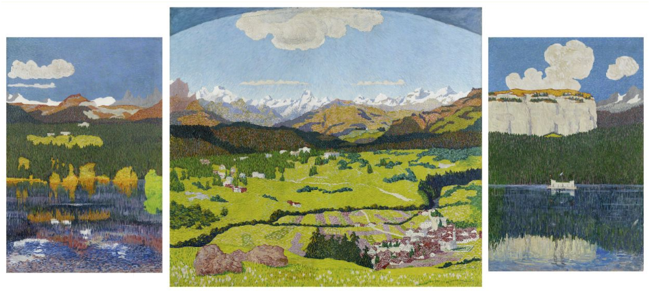 GIOVANNI GIACOMETTI (Stampa 1868-1933 Glion) - Panoramic view of Flims, oil on canvas, 150 x 100 cm, 180 x 200 cm and 150 x 100 cm, monogrammed and dated on the central panel, 1904
