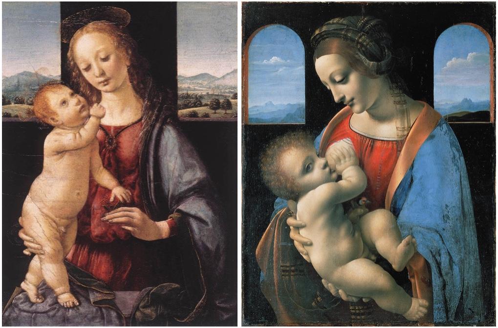 Links: Madonna mit dem Kinde und einem Granatapfel (Madonna Dreyfus), Öl/Holz, um 1475-80, Washington, D.C., National Gallery of Art Rechts: Madonna Litta, Öl u. Tempera/Lwd., um 1490-95, Sankt Petersburg, Eremitage