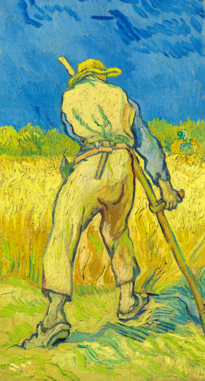 Vincent van Gogh (1853-1890), Le moissonneur (d'après Millet). Painted in Saint-Rémy in 1889. Oil on canvas. 17 × 9⅝ in (43.3 × 24.3 cm). Sold for £24,245,000 in the Impressionist and Modern Art Evening Sale on June 27 at Christie's London
