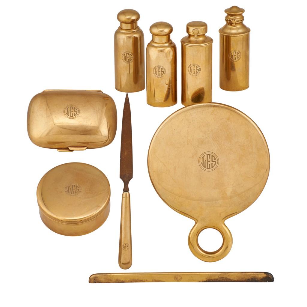 Tiffany 18kt gold dresser set