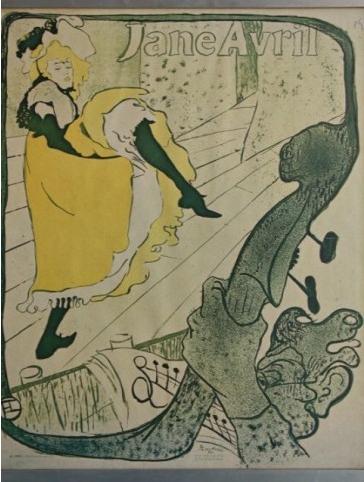 Poster d'une reproduction d'affiche 1900 de Toulouse Lautrec (1864-1901) à la gloire de Jane Avril (1868-1943) la plus célèbre danseuse du Moulin Rouge Marseille Antiquités