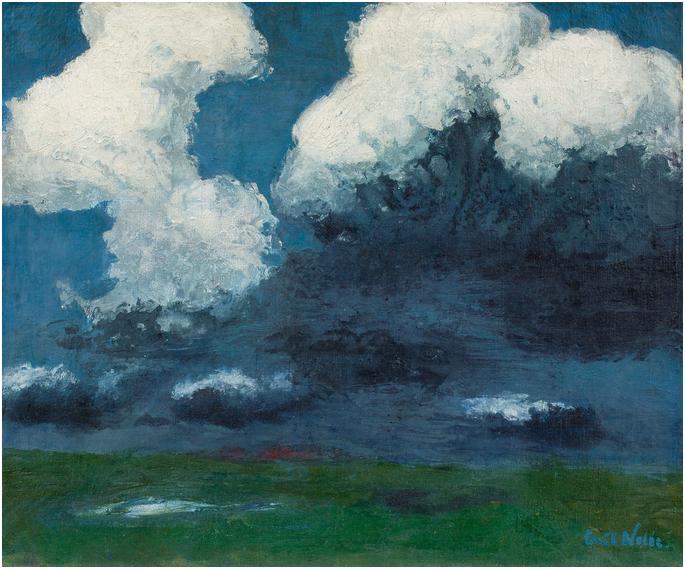 """EMIL NOLDE (1867 Nolde - 1956 Seebüll) - """"Weiße Wolken"""", olja på canvas, 73,2 x 88 cm, konstnärens ursprungliga ram, namngiven och signerad. 1926. Utropspris: 11,2 - 14,9 miljoner kronor."""