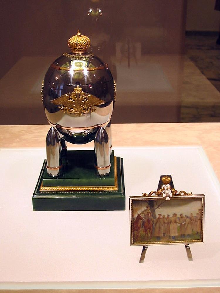 Steel Military Egg, Fabergé, barnebys