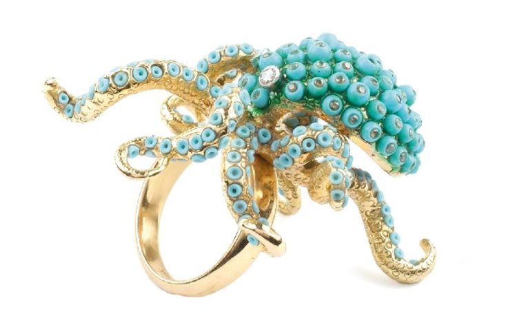 Octopus ring with gold, turquoise, diamonds