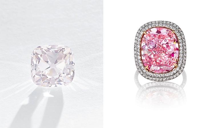 Links: Der zartrosa Grand Mazarin (19,07 ct) gehörte im 17. Jh. dem Minister Kardinal Mazarin bevor er bis ins 19. Jahrhundert Teil der französischen Kronjuwelen war. Verkauft wurde er 2017 für 12,4 Millionen Euro (Foto: Christie's) Rechts: Mit diesem rosa Diamantring machte ein Milliardär aus Hongkong seiner Tochter 2015 für 24,7 Millionen Euro eine Freude (Foto: Christie's)