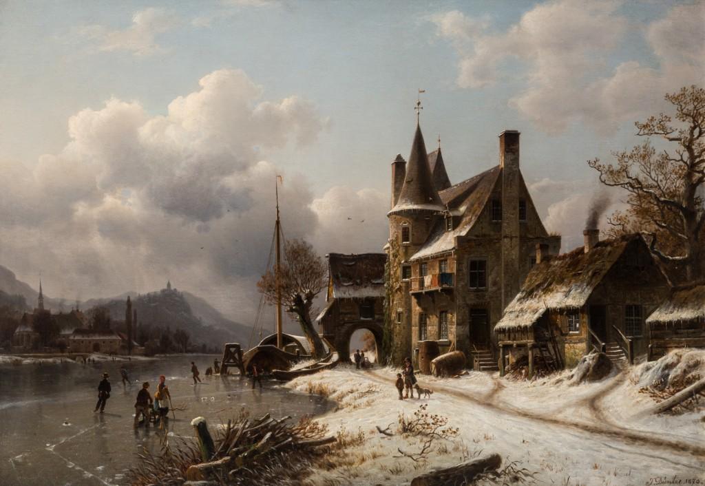 Johannes Bartholomaus Duntze (Allemagne 1825 - 1895), «Scène d'hiver avec des patineurs sur un canal gelé», estimation 8 000 - 12 000 dollars