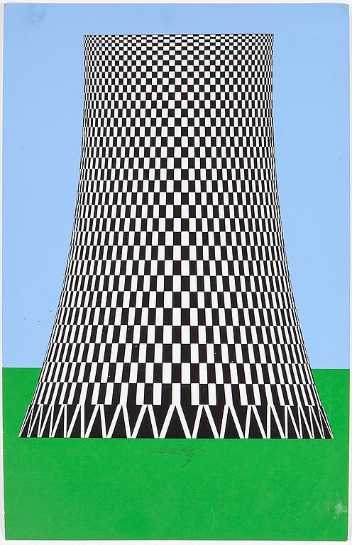 Victor Vasarely. Färgserigrafi, signerad. Kyltorn vid kärnkraftverk. Bladstorlek 52 x 33. Utrop: 4,000 Sek. Bukowskis market