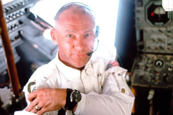 Buzz Aldrin wearing the first watch worn on the moon