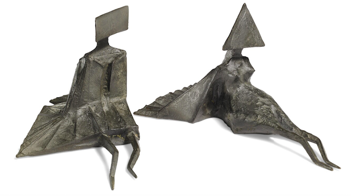 """Lynn Chadwick's Bronze Sculpture, """"Two reclining figures"""", 1976. Signed with monogram stamp C 76 (739), 3/8,"""