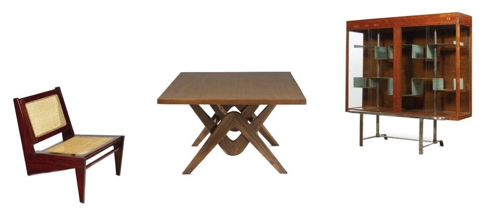 PIERRE JEANNERET (1896-1967) - Links: Tiefer Sessel, verkauft 2010 bei Artcuriel (47.628 EUR). Mitte: zus. mit LE CORBUSIER - Konferenztisch, verkauft 2011 bei Leclere (62.000 EUR). Rechts: Bibliotheksvitrine, verkauft 2010 bei Artcurial (95.957 EUR)