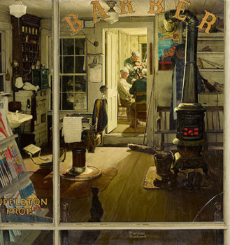 """Shuffleton's Barbershop"", Norman Rockwell år 1950. Foto: Collection of Lucas Museum of Narrative Art. ©SEPS: Licensed by Curtis Licensing, Indianapolis, IN."