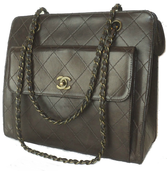 CHANEL - Dark Brown Diamond Quilted Front Pocket CC Turn Lock Hand/Shoulder Bag, 1997-99