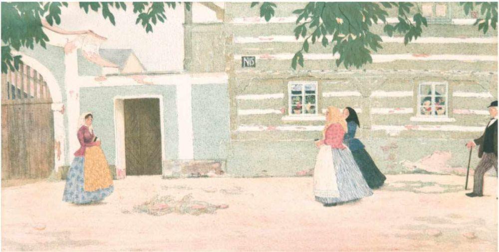 Emil Orlik (1870 Prag-1932 Berlin), Sonntagsmorgen in Brotzen, Farblithografie, monogrammiert, 1902