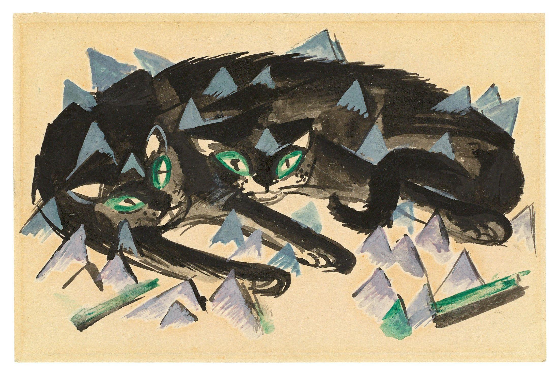 FRANZ MARC (München 1880 – 1916 Verdun) - Zwei liegende schwarze Katzen, Aquarell/festes Papier, 1913