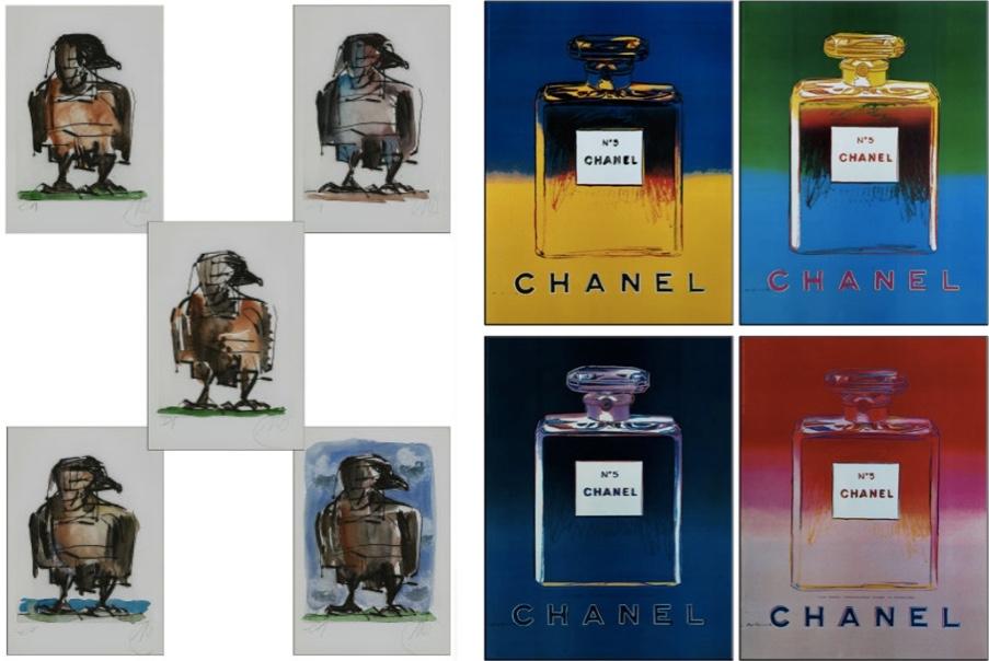 """Links: MARKUS LÜPERTZ (*1941 Reichenberg/Liberec) - Fünf Grafiken """"Bundesadler"""", Kaltnadelradierung, handaquarelliert, 25 x 18 cm, monogrammiert und bezeichnet, 2004 Schätzpreis: 5.000-7.000 EUR Rechts: ANDY WARHOL (1928 Pittsburgh – 1987 New York) - Vier Drucke: Chanel, Farboffset, ca. 76 x 58,5 cm, 1997 Schätzpreis: 1.000-2.000 EUR"""