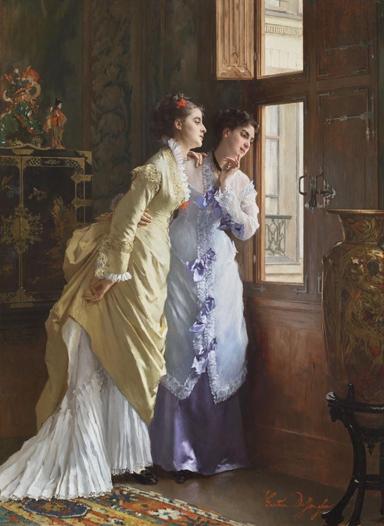 """Gustave De Jonghe (1829-1893), """"Indiscrétion"""" Huile sur panneau signé en bas à droite 74 x 54 cm"""