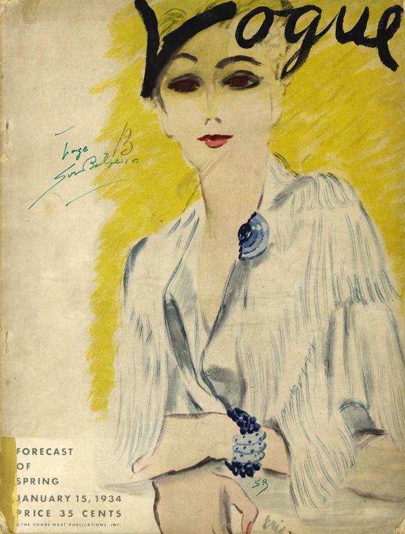 Sur la couverture illustrée de Vogue US (janvier 1934), un clip et un bracelet en calcédoine et saphirs de Suzanne Belperron Image via VanityFair