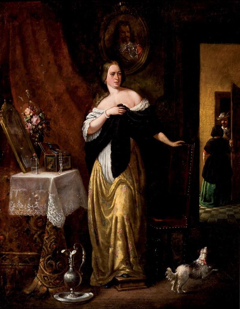 Escuela Holandesa. Visita del sastre. Firmado C. L. WALP (XVIII-XIX)